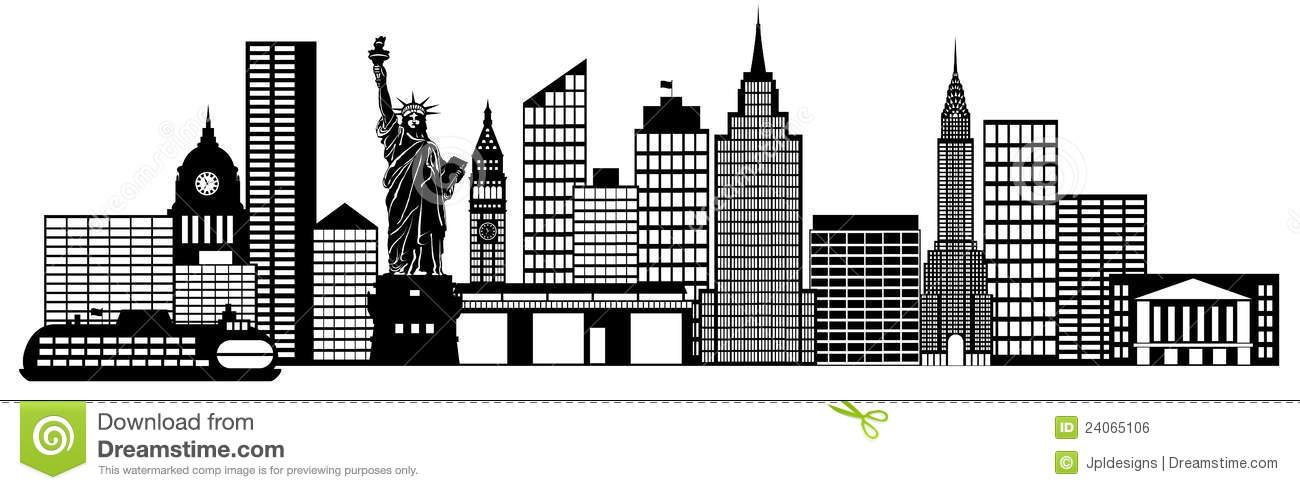 New York City Skyline Panorama Clip Art
