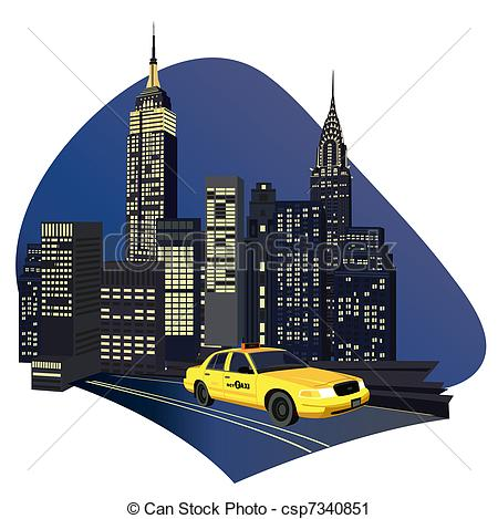 ... New York City Taxi - Illustration wi-... New York City Taxi - Illustration with skyscrapers and a new... New York City Taxi Clipartby ...-11