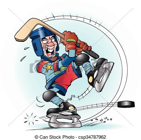 . ClipartLook.com Slap shot in hockey - Vector cartoon illustration of a slap.