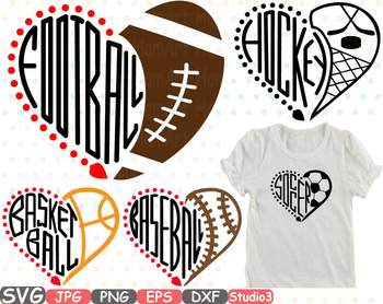 Sports Heart Balls NFL MLB NCAA NBA NHL -Sports Heart Balls NFL MLB NCAA NBA NHL Silhouette SVG clipart spot ball  725s-21