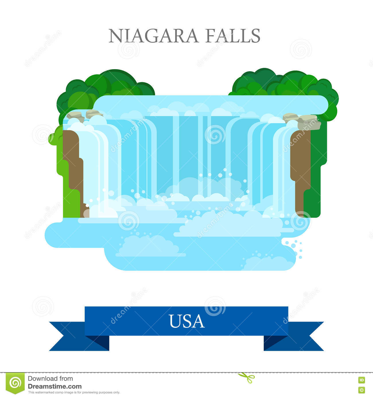 Niagara Falls in United States / Canada. Flat cart Royalty Free Stock Images
