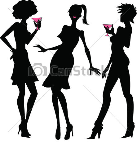Night Out With Women Stock Illustrations-night out with women Stock Illustrationsby adrenalina2/49; Three party girls  silhouettes - Three silhouettes of young.-17