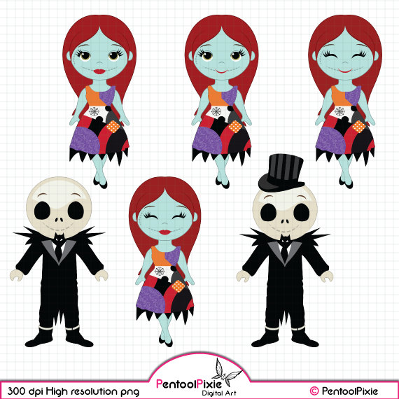 Nightmare before Christmas clipart, Jack-Nightmare before Christmas clipart, Jack Skellington, Sally Nightmare, Halloween clipart, Love clipart-8