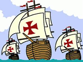 Niña, Pinta and Santa Maria on the high seas