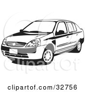 Clipart Illustration Of A Black And White Four Door Nissan Platina Car