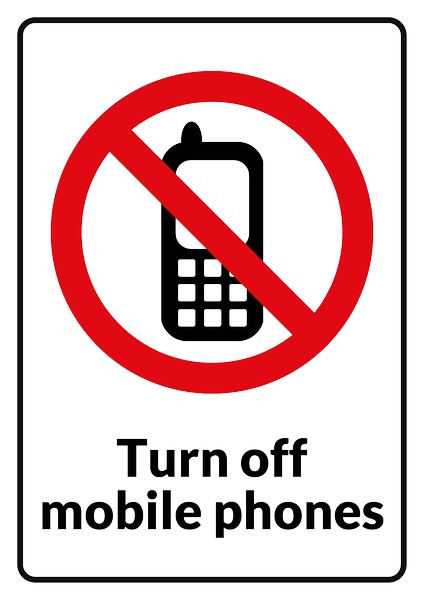 No Mobile Phones sign .