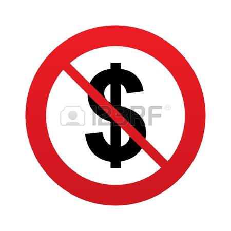 No Money: No Dollars Sign Icon. USD Curr-no money: No Dollars sign icon. USD currency symbol. Money label. Red-16