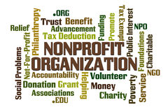 NonProfit Organization. Word cloud on white background Royalty Free Stock  Photo