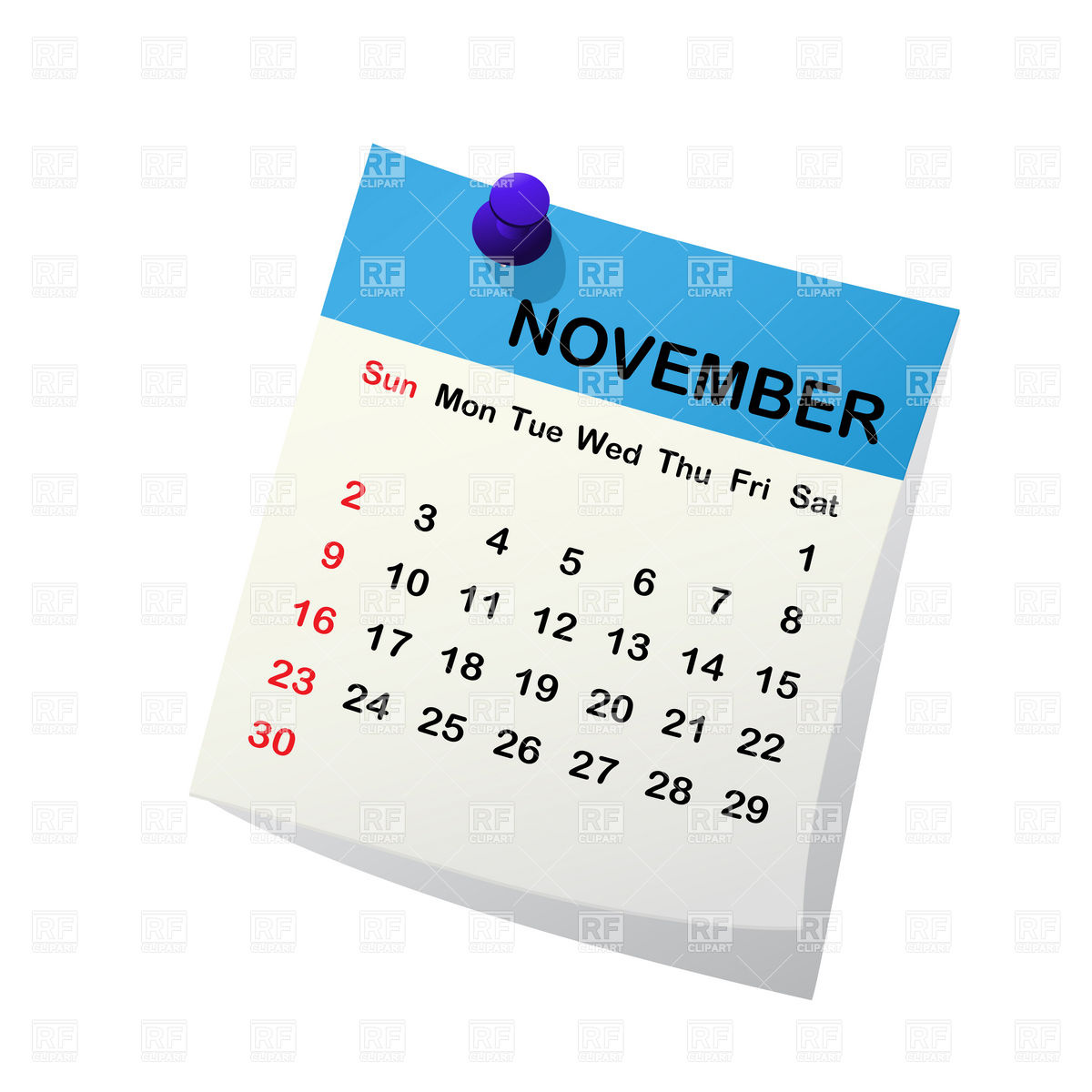 November 2014 Month Calendar Download Royalty Free Vector Clipart