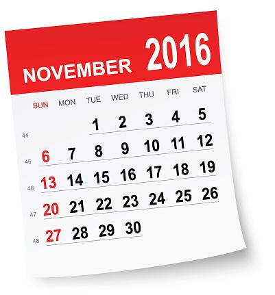 November 2016 calendar vector .