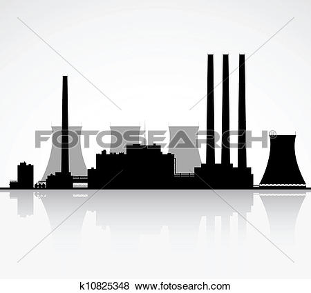 Nuclear Power Plant Silhouett - Power Plant Clipart