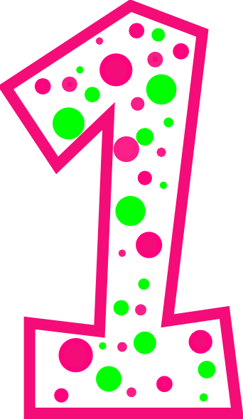 Number 1 Pink And Green Polkadot R Clip Art At Clker Com Vector