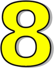 Number 8 Yellow Signs Symbol Alphabets Numbers Outlined Numbers