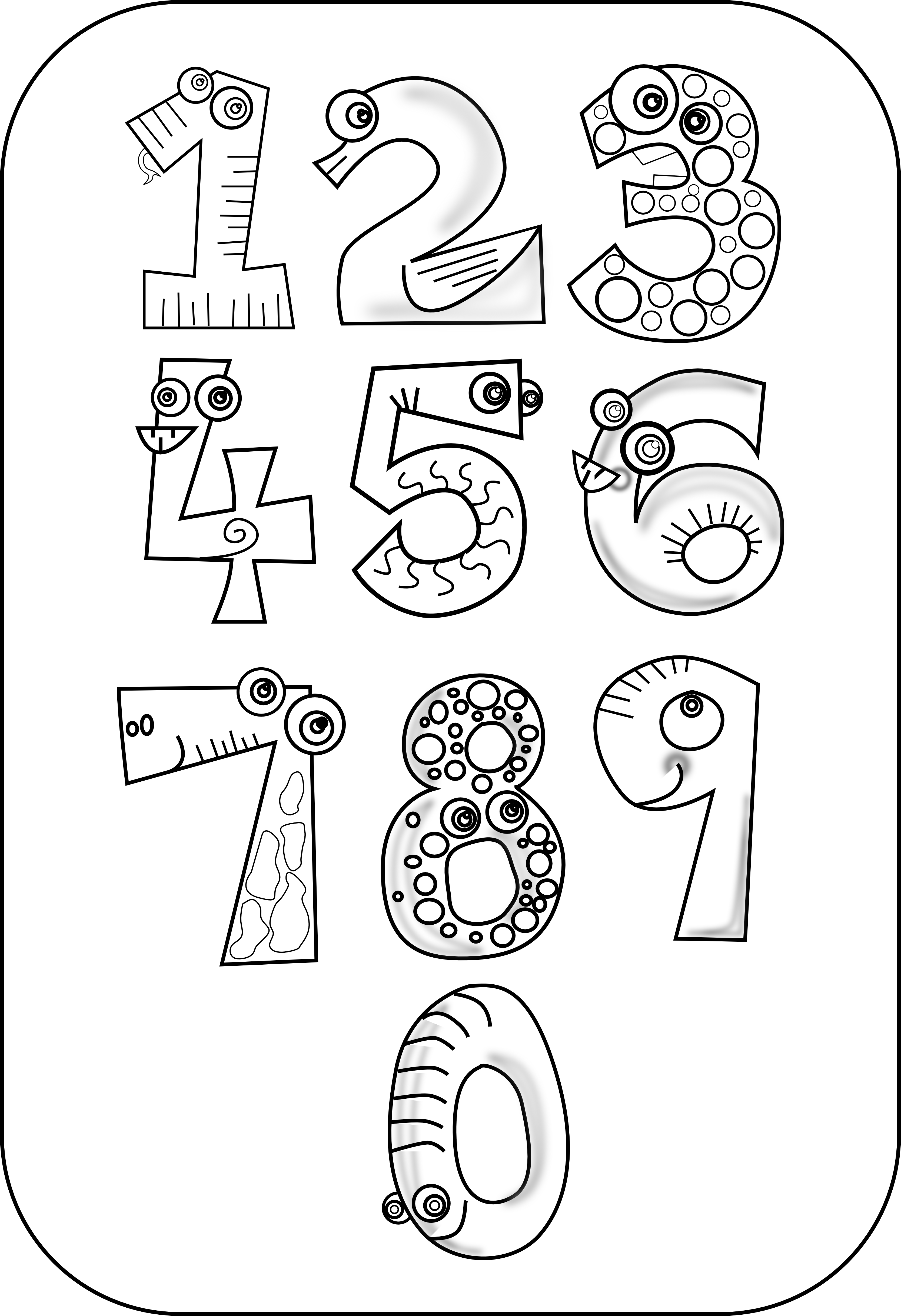 number clipart black and white