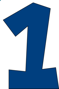 Number One (muted Blue) Clip  - Number One Clipart