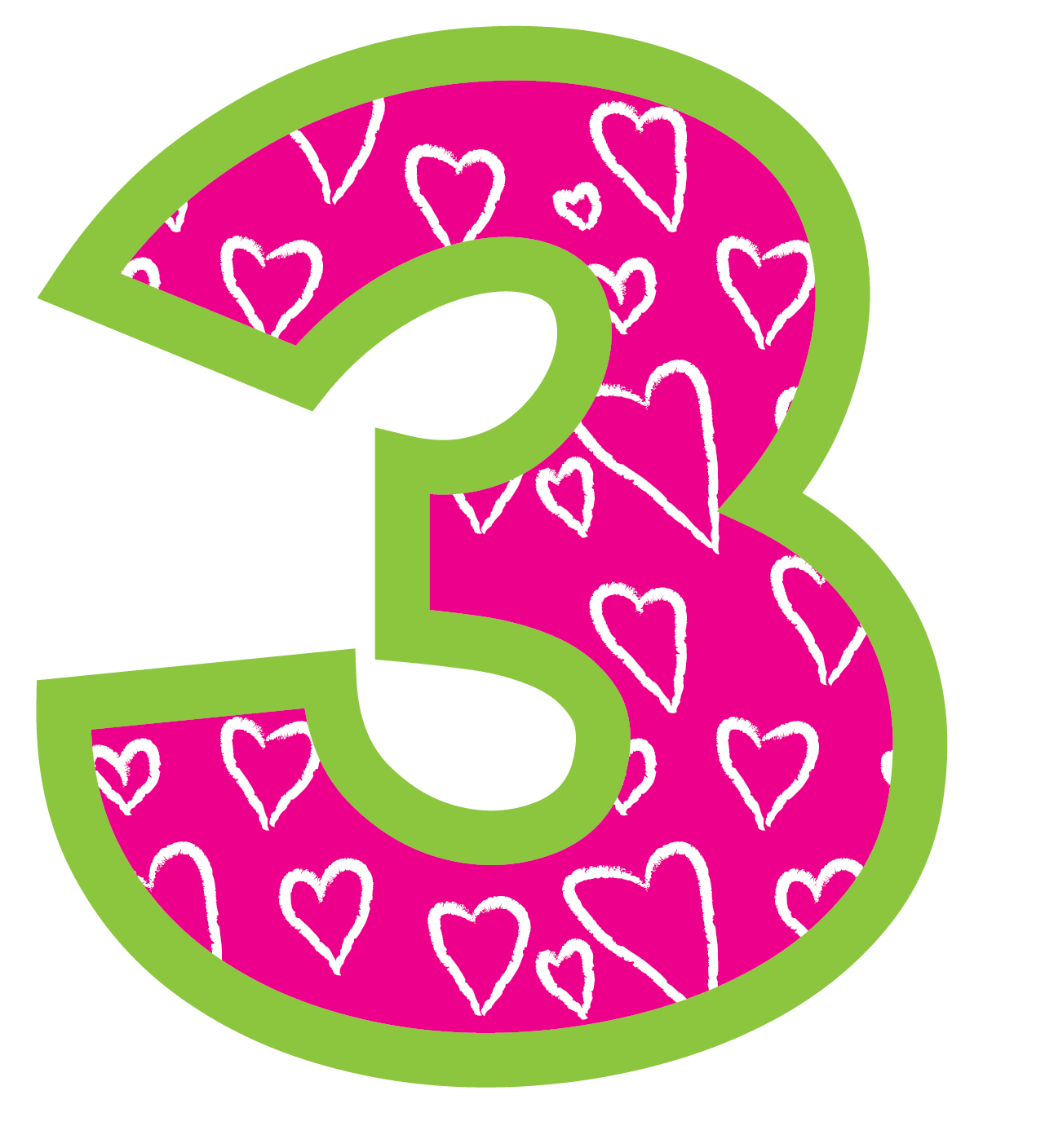 Number Three Clipart. Pink