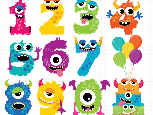 Clipart - Monster Numbers