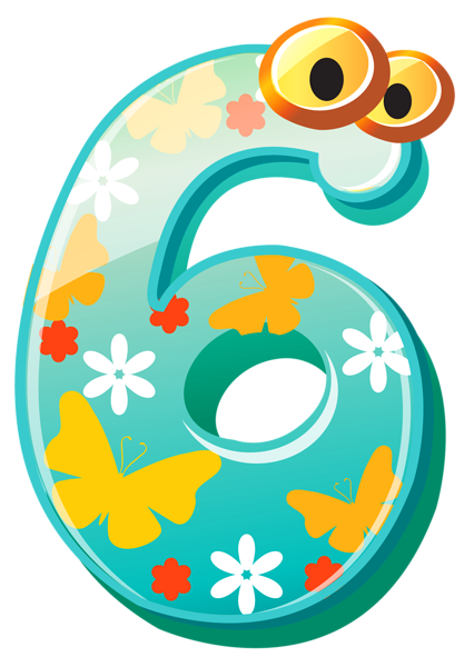 Cute Number Six PNG Clipart I - Numbers Clipart