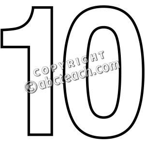 Numbers Illustration Clip Art Black And White Ten Illustration Number