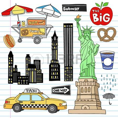 Nyc: Stock Vector Illustration: New York-nyc: Stock Vector Illustration: New York City Manhattan Notebook Doodle Design Elements Set on-18