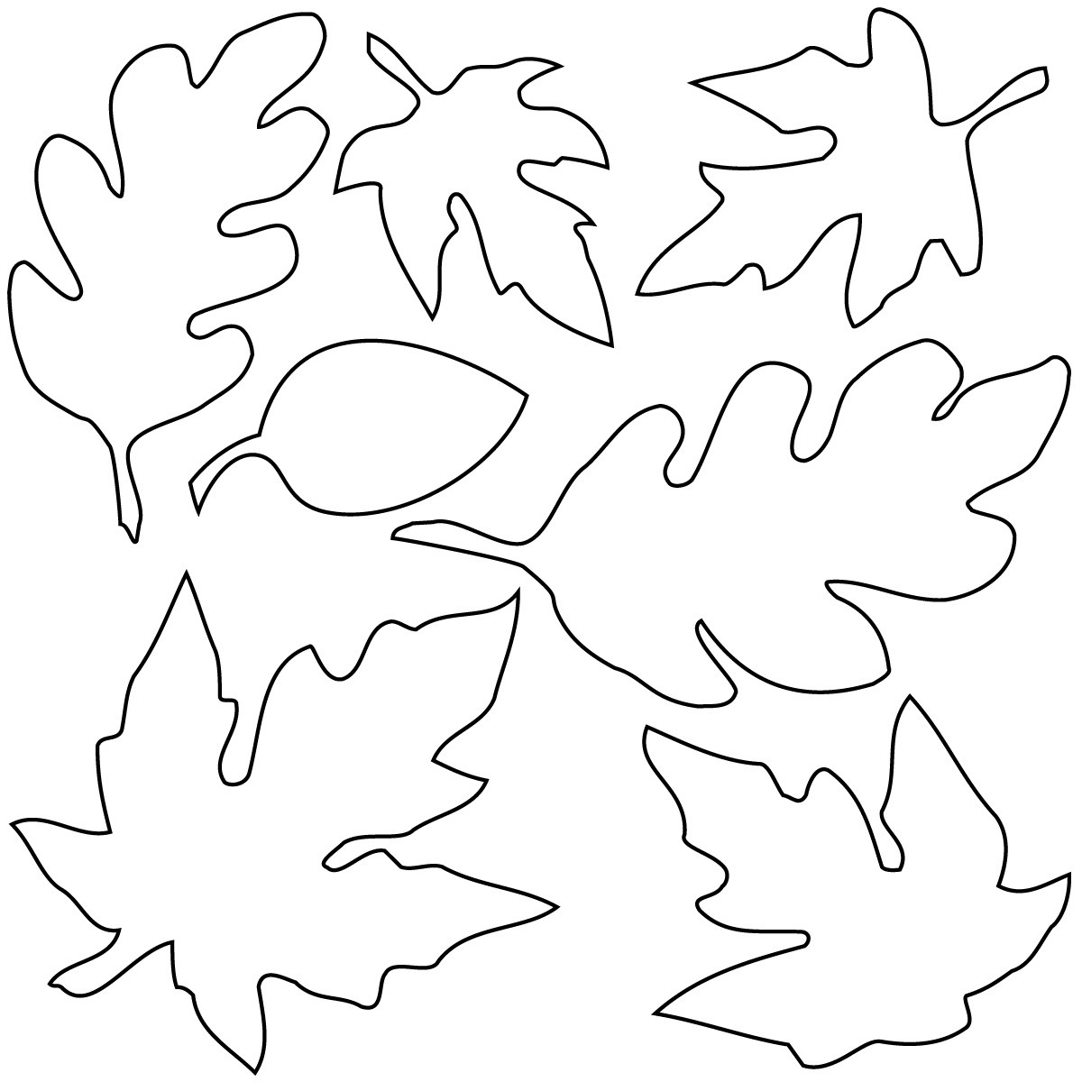 Oak Leaf Clip Art Black And W - Leaves Clipart Black And White