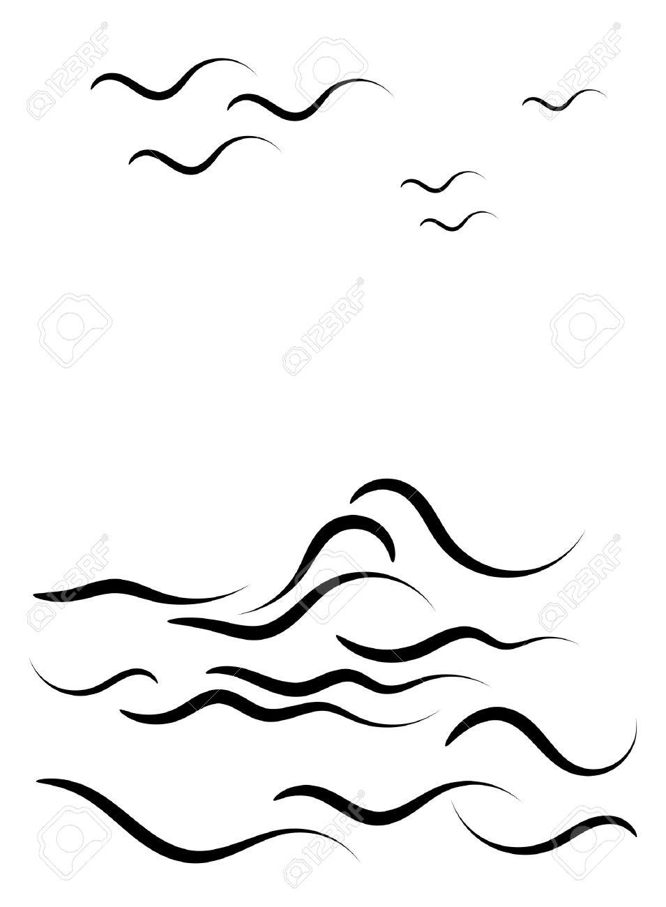 Ocean Clipart Black And White. Beautiful-Ocean Clipart Black And White. Beautiful black silhouette of .-12
