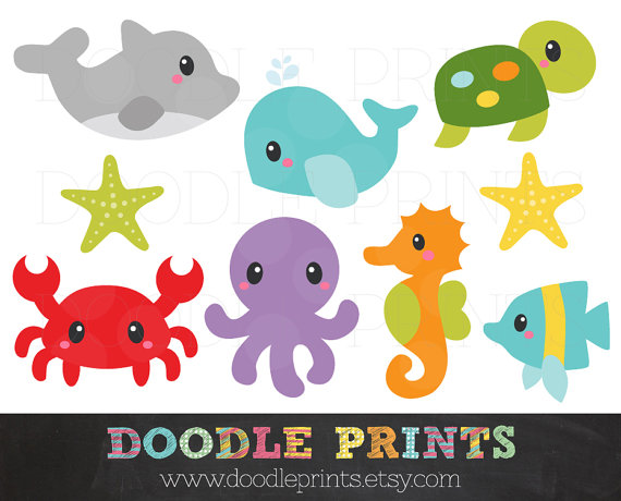 Ocean Clipart - Sea Digital Clip Art Printable - Under the Sea Creatures, Ocean -