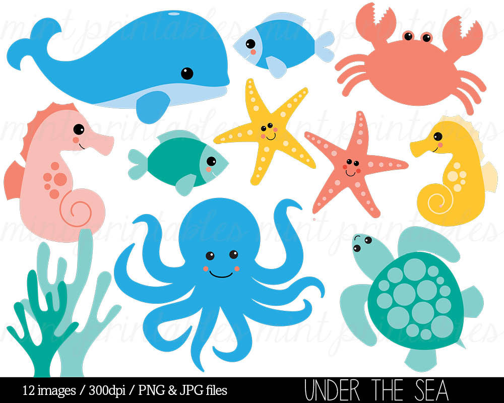 Ocean sea life clipart - .