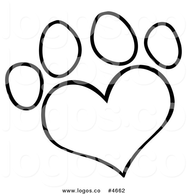 Of A Black And White Heart Shaped Dog Paw Print By Hit Toon 4662