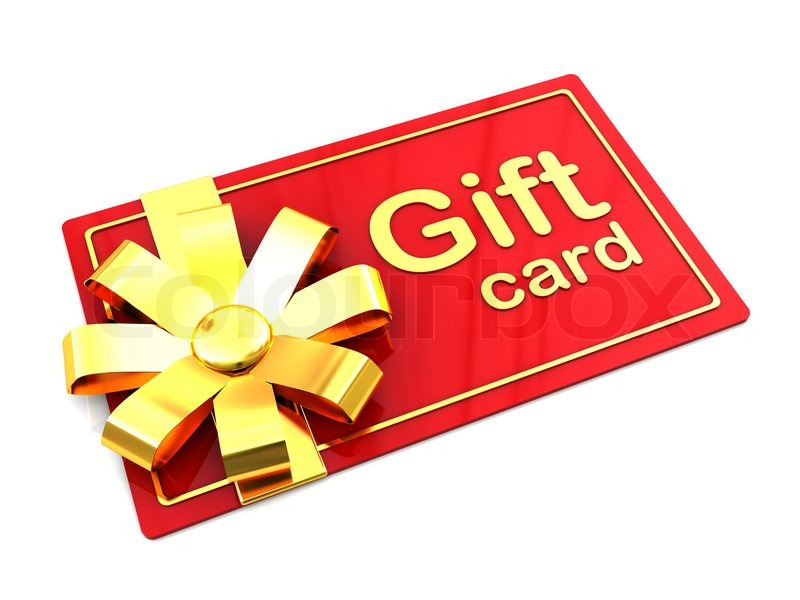 of plastic gift card over .