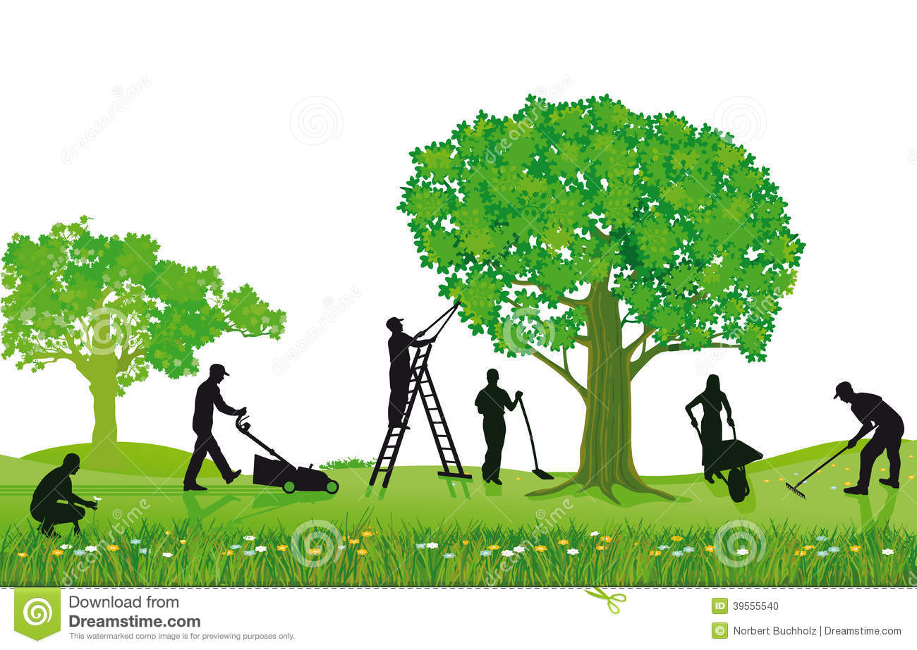 Of Workers Landscaping Pruning Mowing A Lawn And Planting A Garden
