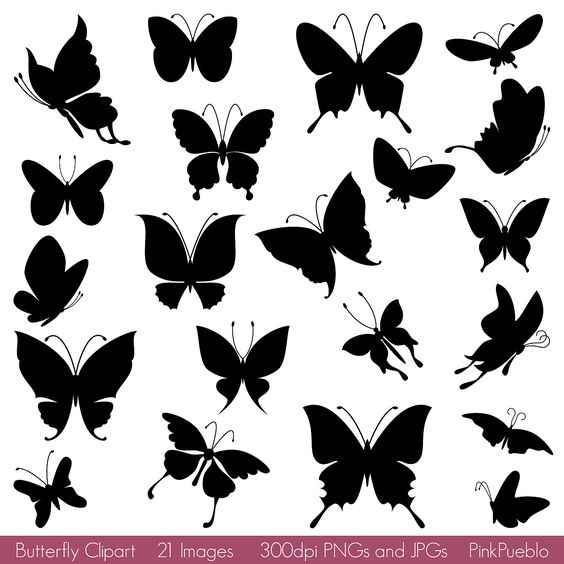 OFF SALE Butterfly Silhouettes Clipart Clip Art, Butterfly Clipart Clip Art Vector - Commercial and Personal Use
