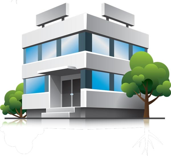 Office Building Clipart 3d. 3D houses and office buildings