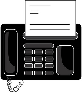 Office Fax Machine Clipart Image: Office Fax Machine with a fax emerging