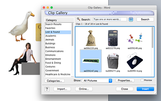 Oh, and Mac users: Clip Art is still an offline feature in Office for Mac 2011, so you can still use it.