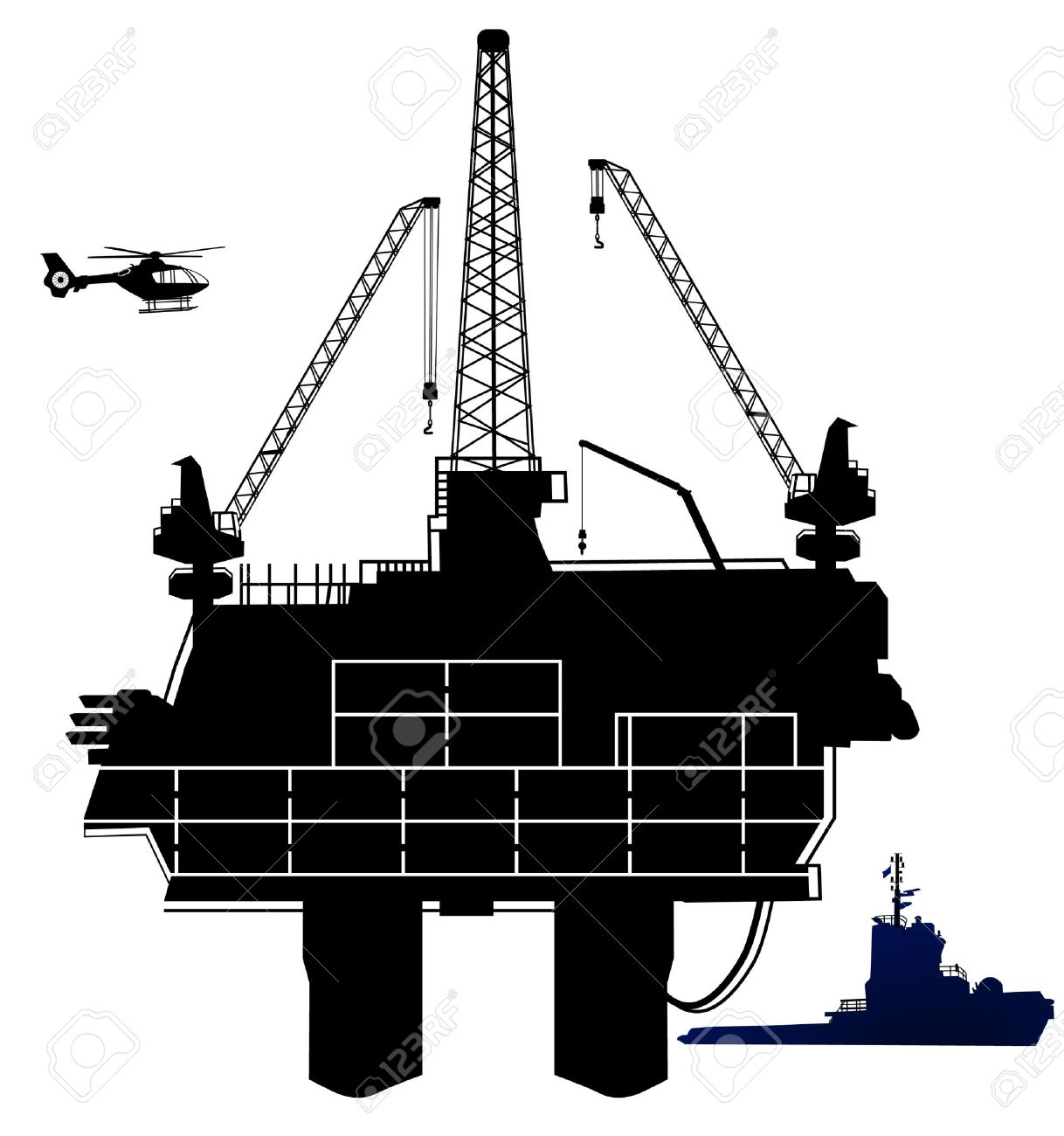 oil drilling rig, in offshore - Oil Rig Clipart