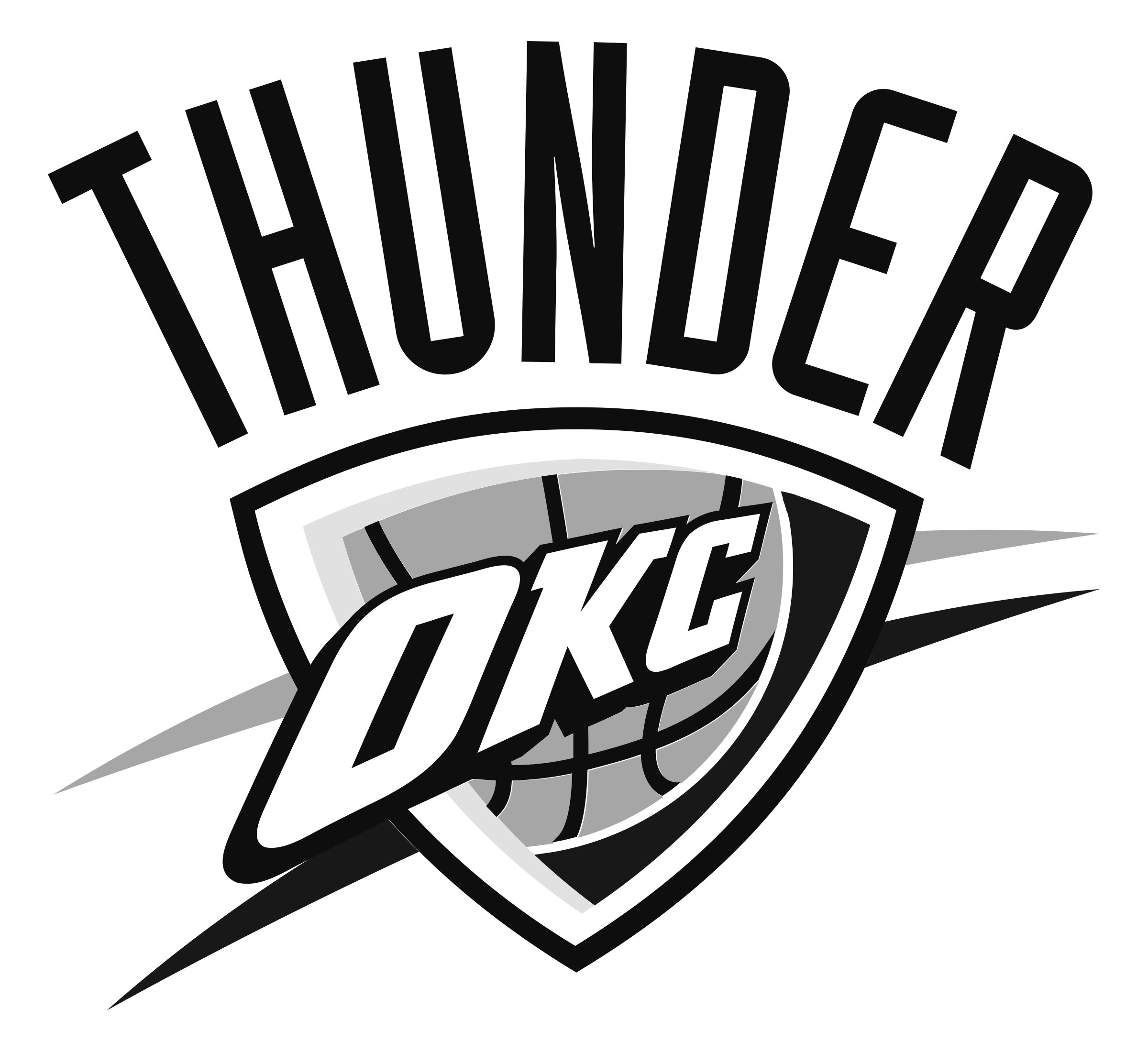 Oklahoma City Thunder logo black and whi-Oklahoma City Thunder logo black and white-3