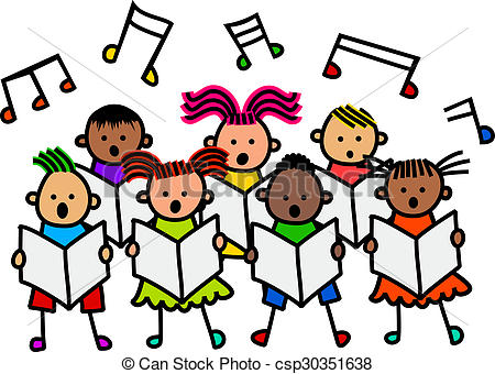 OL Clip Artby CommercialCartoons2/777; Singing Kids - A group of happy and diverse stick children.