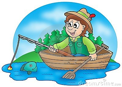 Old Fisherman In Boat Clipart .