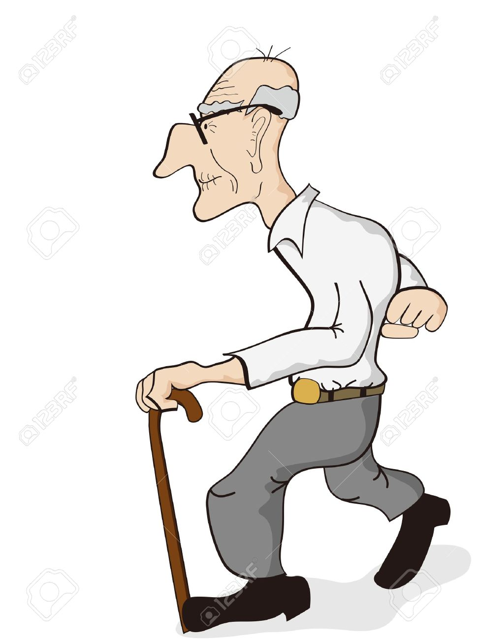 Old Man Walking Clipart #1