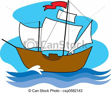 ... Old Sailing Ship - An old sailing with with sails up on the.