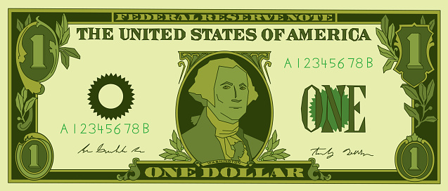 One Dollar Bill Stylized .