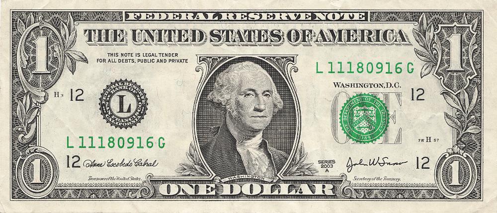 one dollar bill US .