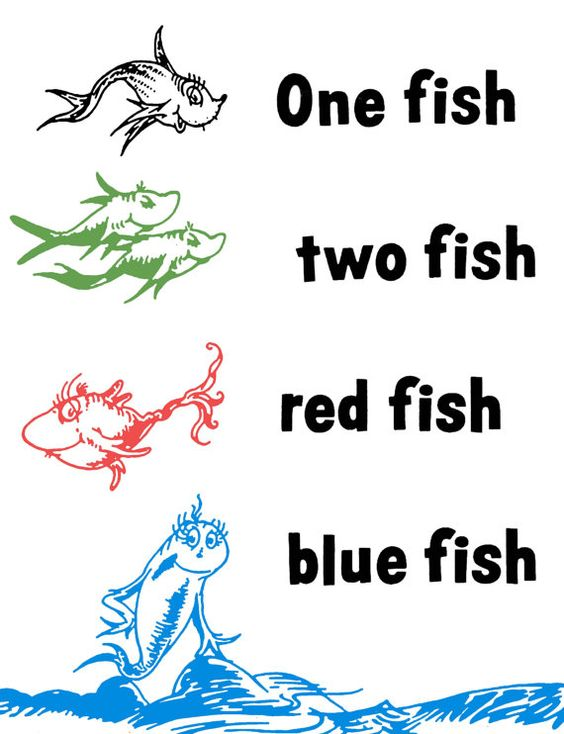 One Fish Two Fish Red Fish Blue Fish Dr Seuss Wall Decal
