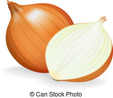. ClipartLook.com Golden onion whole and half. Vector illustration.
