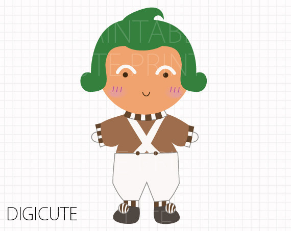 Oompa Loompa from Willy Wonka and the Ch-Oompa Loompa from Willy Wonka and the Chocolate Factory Kids Clip Art, INSTANT DOWNLOAD,-10