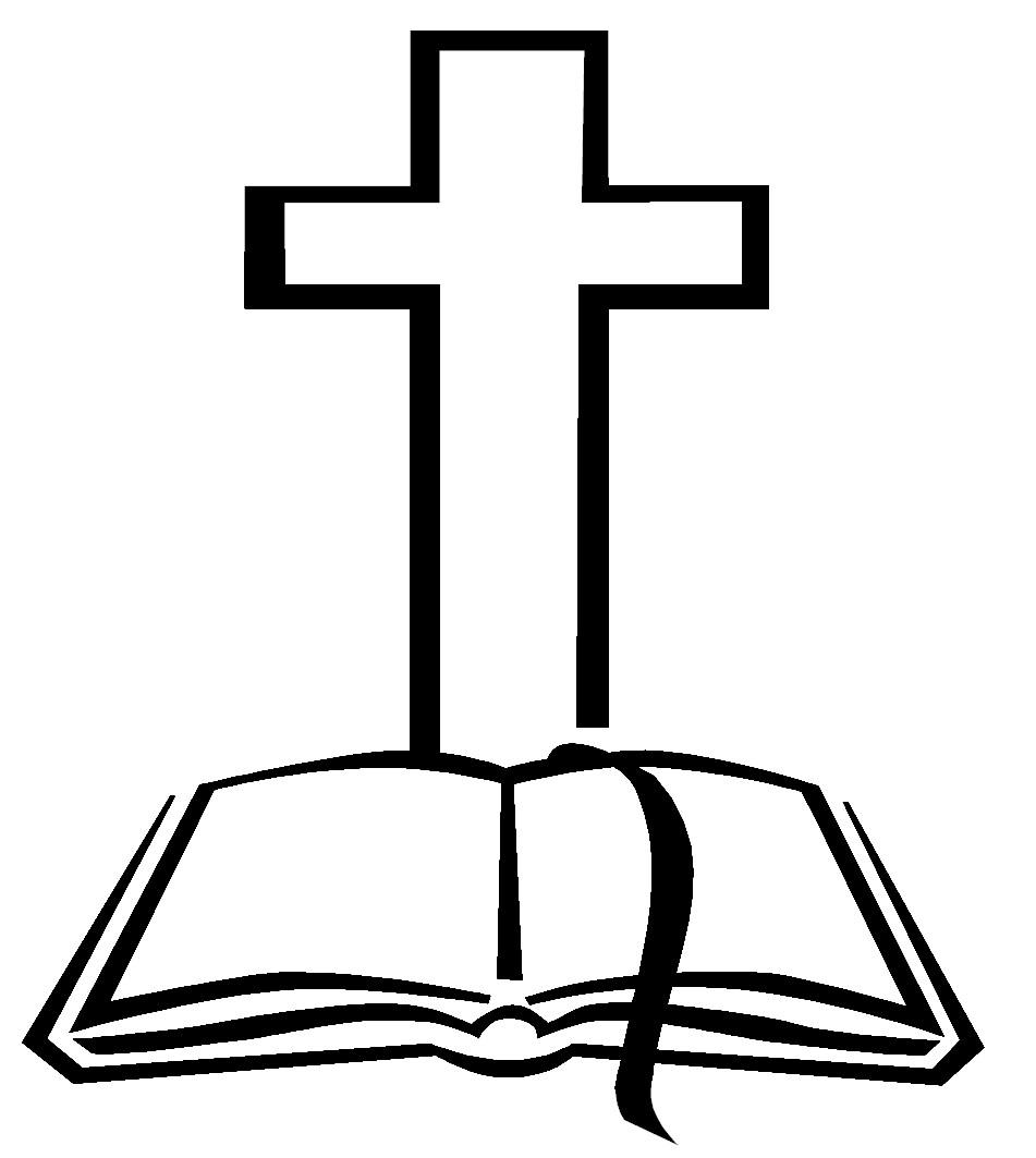 Open bible with cross clip art