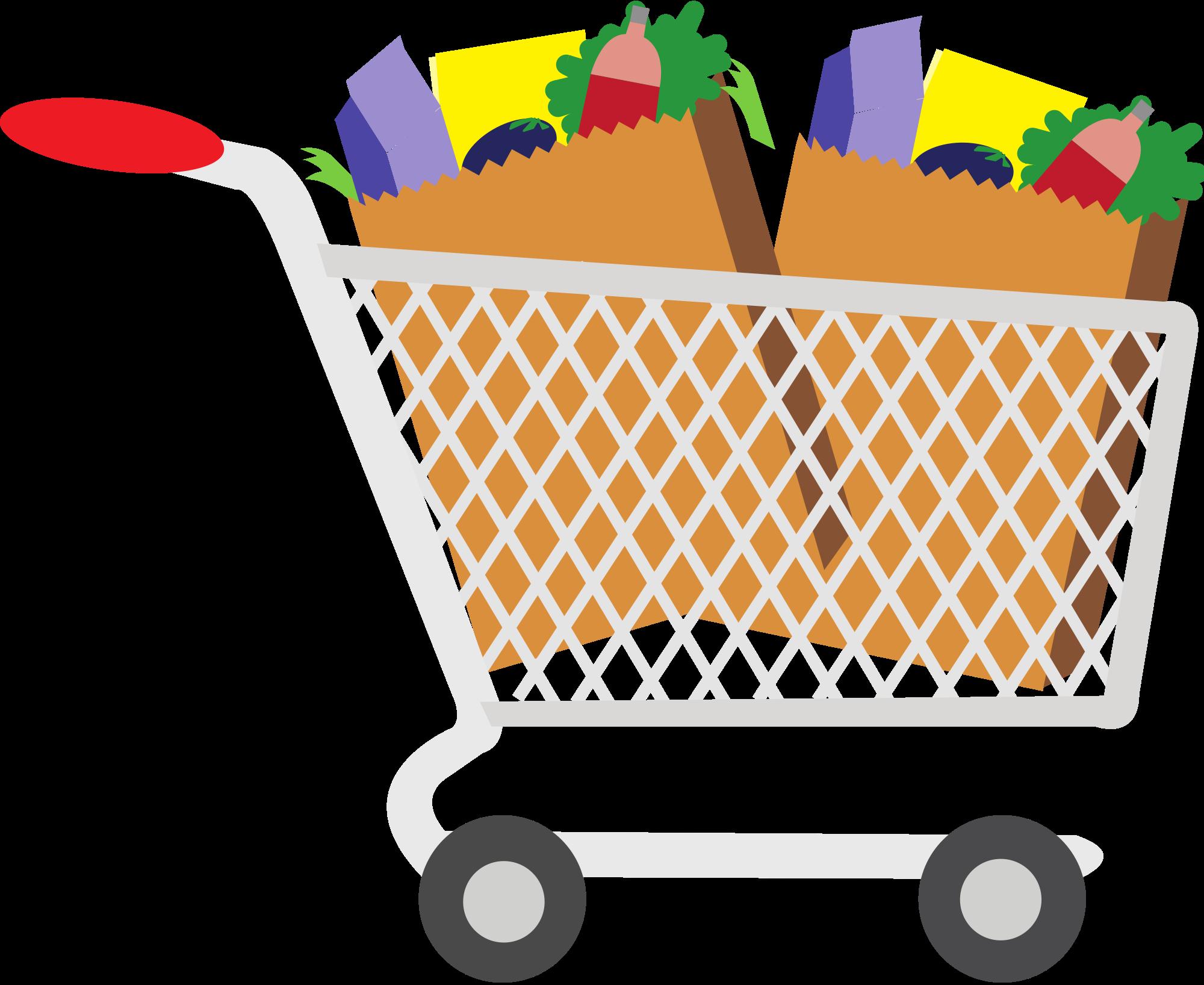 Open . - Grocery Cart Clipart