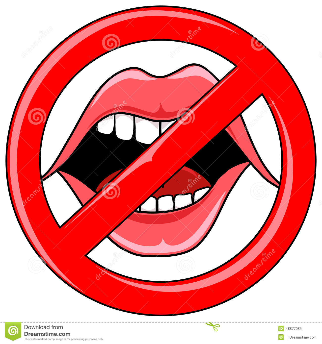 Open Talking Mouth With Red Banned Icon Mr No Pr No 1 254 0