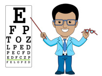 Optician Pointing To Eye Exam Chart Clipart Size: 95 Kb